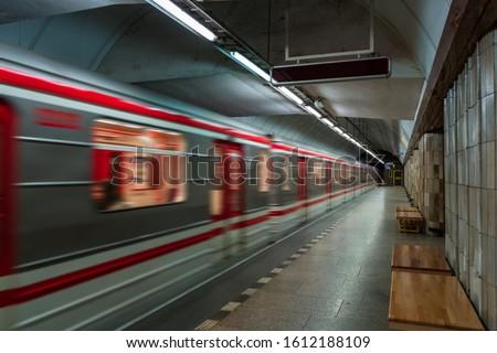 European Czech metro subway transit vehicle in motion - Subway Station Сток-фото ©