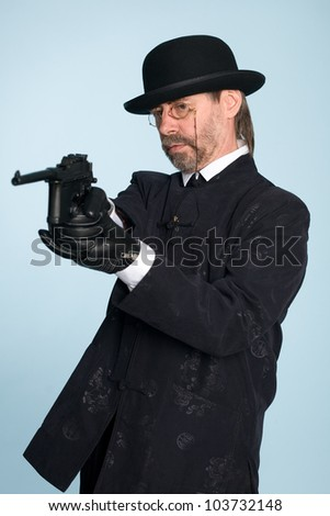 European, dressed in traditional Chinese costume shoots a gun.