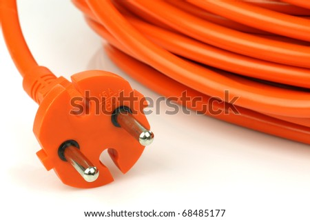 European electrical power plug and cable on a white background