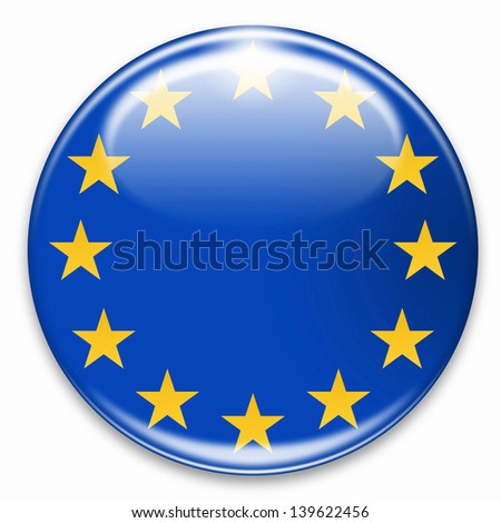 european flag button isolated on white