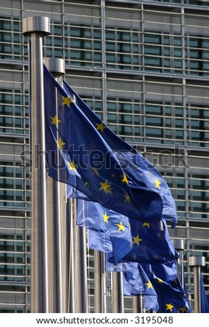European flags floating in Brussels
