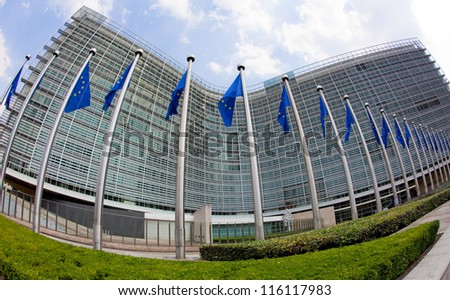 European flags in front of the Berlaymont building, headquarters of the European commission in Brussels.