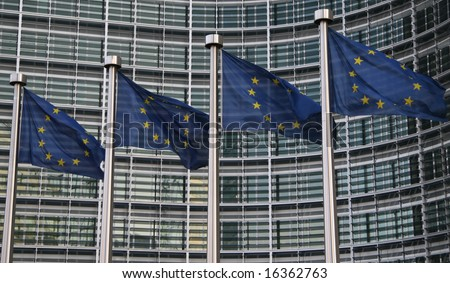 European flags in front of the Berlaymont building of the European commission in Brussels.