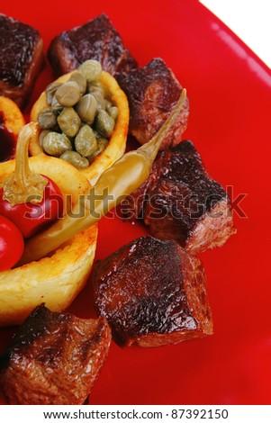 Served roast beef meat