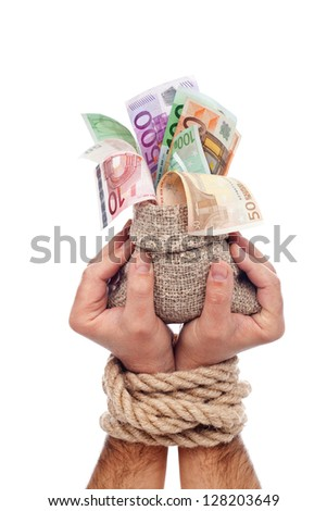 European funds concept with moneybag in tied up hands - isolated