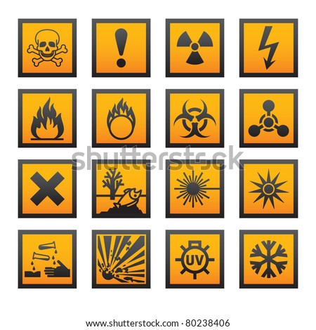 European hazard symbols. Bitmap copy my vector ID 75795436