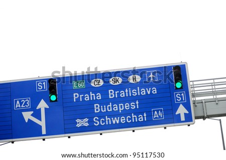 European highway sign - direction and exit sign to Praha, Bratislava and Budapest. Useful file for your flyer about European road infrastructure and other