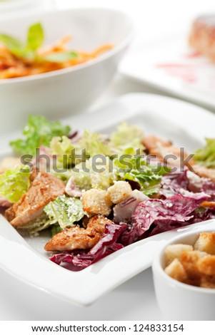 European Lunch - Caesar Salad with Chicken Breast, Veggie Cream Soup, Spaghetti Bolognese and Dessert
