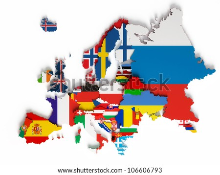 European map with national borders with countries flags, isolated on white background