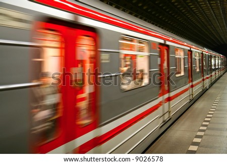 European metro transit vehicle in motion - stock photo