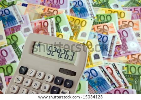 European money and calculator