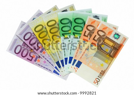 European Money isolated over white background
