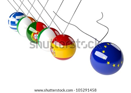 European political concept in 3d. Europe crisis countries in economical conflict.