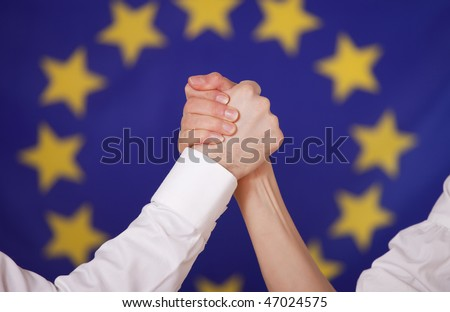 stock photo european power male and female hand in arm wrestling hold 47024575 Body Painting Photo: 12