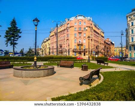 European Russia city park square landscape. Saint Petersburg in spring Russia. European city square in russian city. Saint Petersburg, Russia in spring