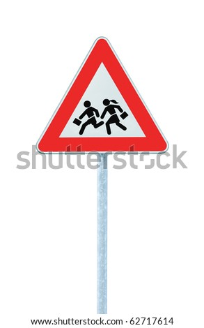 European School Crossing Roadside Warning Sign, Isolated