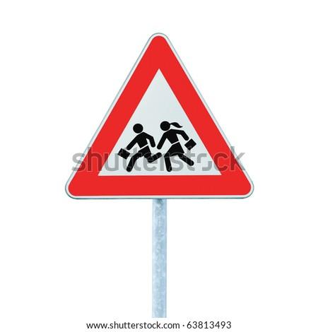 European School Crossing Roadside Warning Sign, Isolated