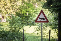 European sign, a cattle crossing roadsign, abiding by European traffic regulations, warning of the presence of cows and other animals frequently in a rural situation.