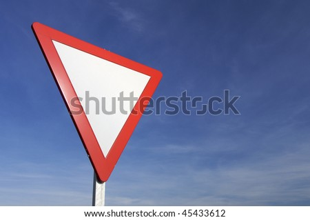 European signal give way to blue sky