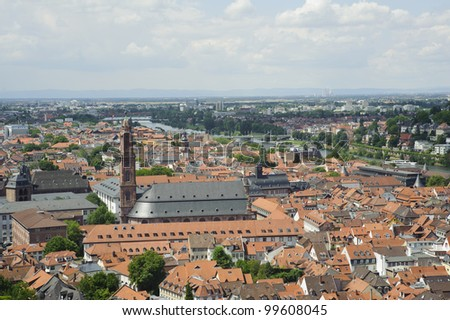 european skyline of heidelberg city ,aerial view from the castle.