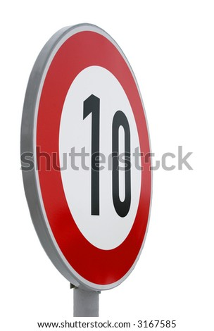 European speed limit road sign isolated on white. Speed limit - 10 kmph