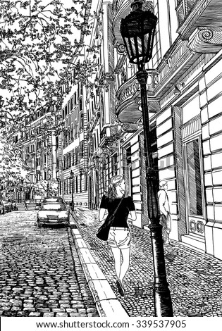 European street scene. Black and white dashed style sketch, line art, drawing with pen and ink. Retro vintage picture.