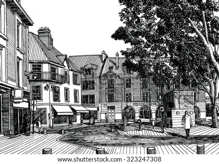 European street view. Black and white dashed style sketch, line art, drawing with pen and ink. Retro vintage picture.