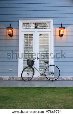 European-style houses and bike - stock photo