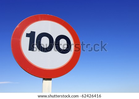 European traffic sign indicating that you can not drive at speeds exceeding one hundred kilometers per hour