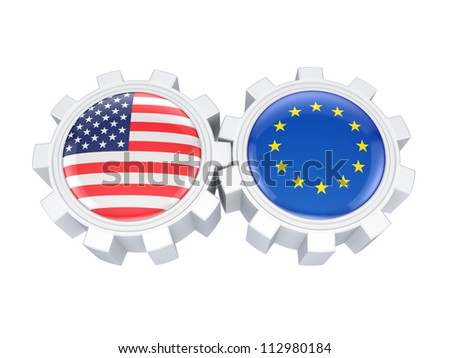 European Union and American flags on a gears.Isolated on white background.3d rendered.