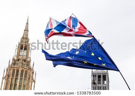 European Union and British Union Jack flag flying together.  #1338783500
