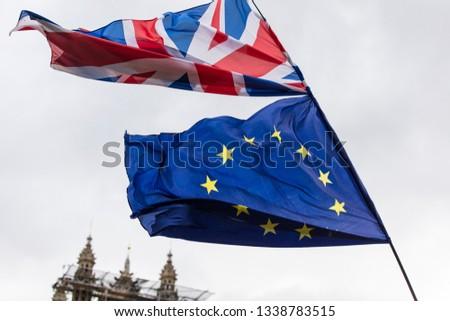 European Union and British Union Jack flag flying together.  #1338783515