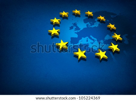 European Union and Europe countries including France Germany Italy and England surrounded by blue ocean with three dimensional yellow flag stars on a blue grunge background. Сток-фото ©