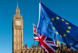European Union and UK flags in front of Big Ben, Brexit EU