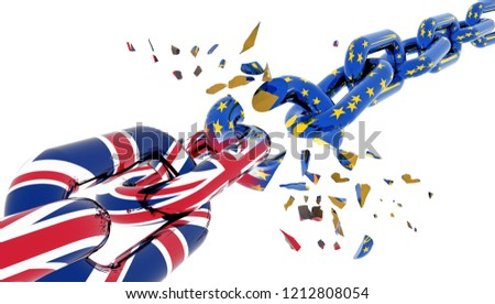 european union chain broken shuttered brexit  grexit - 3d rendering