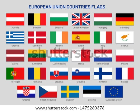 European Union countries flags. Europe travel states, EU member country flag. France, Portugal and Finland flags. United kingdom, Greece and Spain flag isolated symbols set