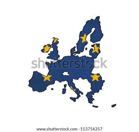 European Union countries map on EU flag drawing ,grunge and retro flag series