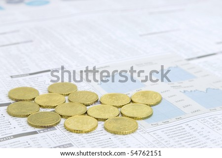European Union Currency on a News paper Stock market financial page showing stocks and shares