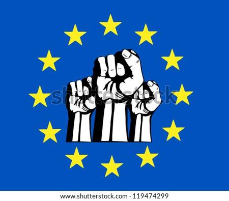 European Union fist, flag, protest.