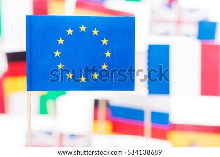 European Union flag against flags of EU members #584138689