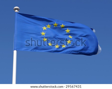 European Union flag blowing in the wind.
