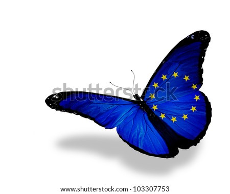 European Union flag butterfly flying, isolated on white background
