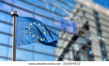European Union flag in front of the Berlaymont building (European commission) in Brussels, Belgium. #326694653