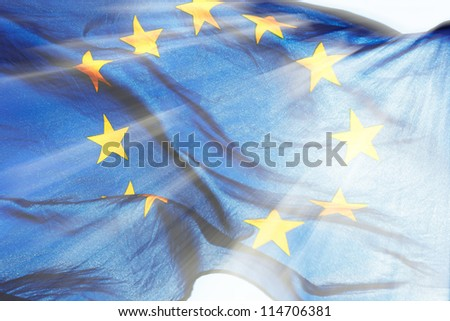 European union flag in the sunbeams