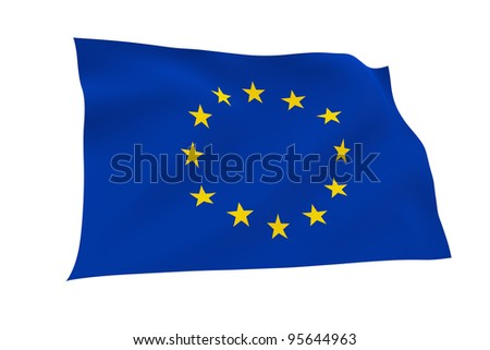 European Union flag isolated on white background with clipping path. Embossed stars.