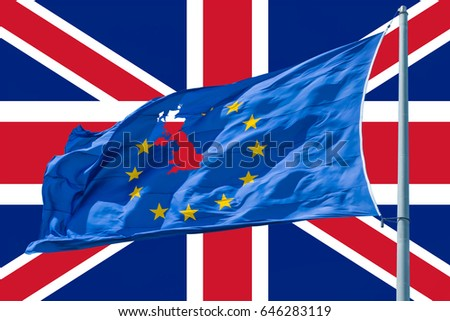 European Union flag on background of Union Jack.Brexit. #646283119