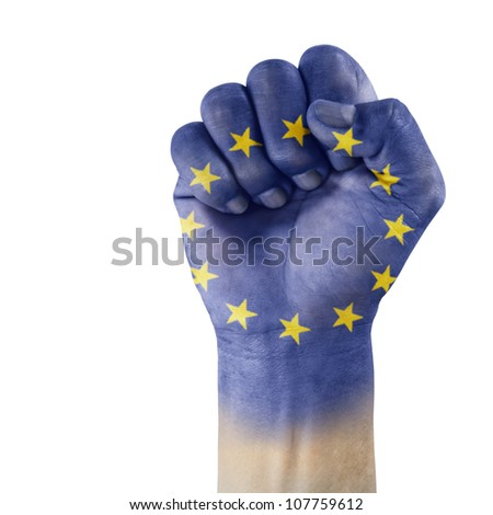 European Union flag on hand with a white background. #107759612