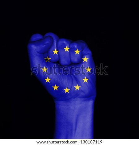 European Union flag painted on fist. Symbol of strength #130107119