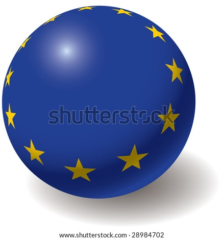 European union flag texture on ball. Design element. Isolated on white. Raster illustration.