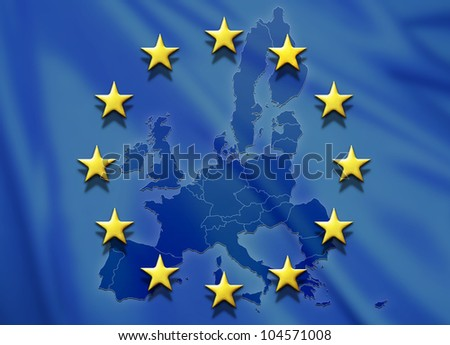 European Union flag with map of Europe